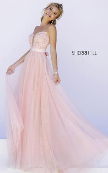 dress prom dress prom gown sherri hill pink dress straps dress love pink long dees lace blush Pinj prom