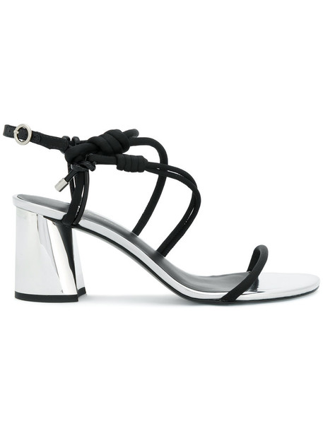 3.1 Phillip Lim women sandals lace leather black satin shoes