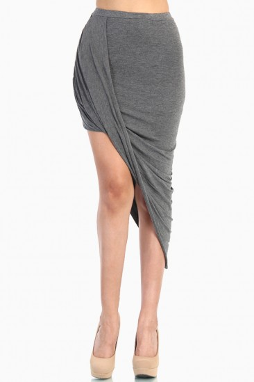 LoveMelrose.com From Harry & Molly | OVERLAPPED DRAPED SKIRT - Gray