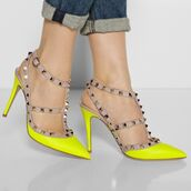 shoes,stilettos,neon yellow shoes,studded