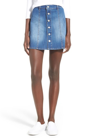 Button Front A-Line Denim Skirt | Nordstrom