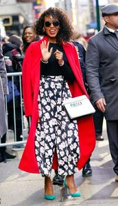 pants,top,coat,trench coat,kerry washington,spring outfits,celebrity,red coat