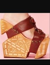 shoes,hair accessory,wooden carved burst platform wedge d