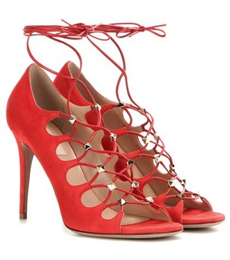 sandals lace suede red shoes