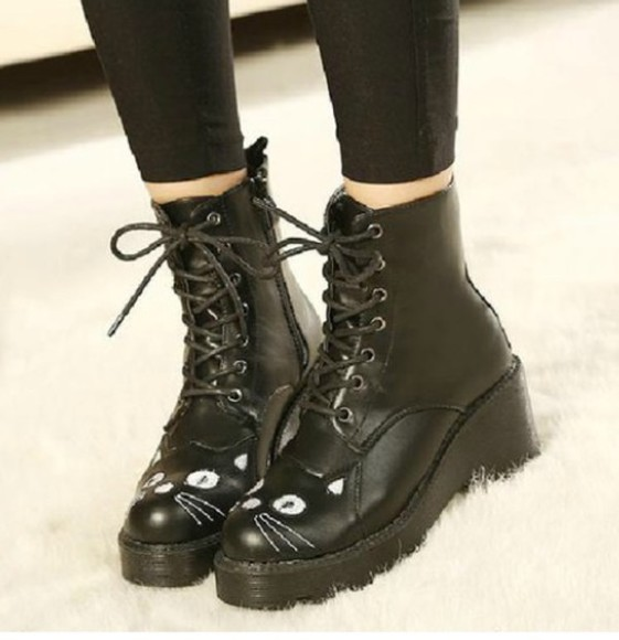 cat eye shoes black boots fashion style tumblr instagram