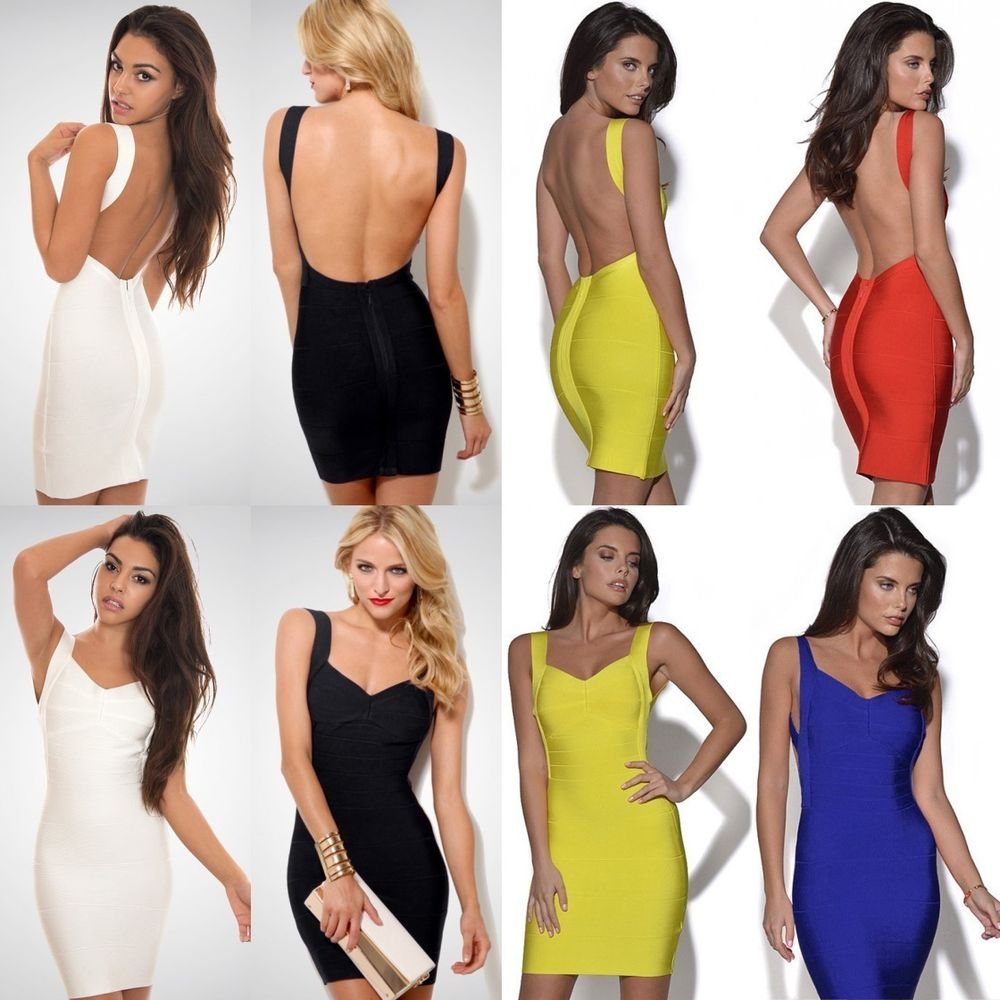 Sexy Womens Backless Stretch Bodycon Party Club Ladies Sheath Bandage Mini Dress | eBay