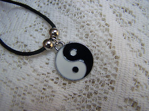 Enamelled plated ying yang necklace great gift