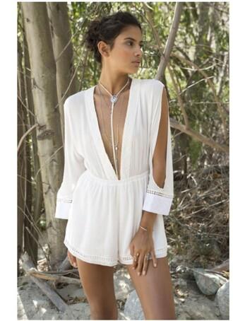 romper girl girly wishlist girly white fashion style trendy summer spring low cut long sleeves freevibrationz beach stylish