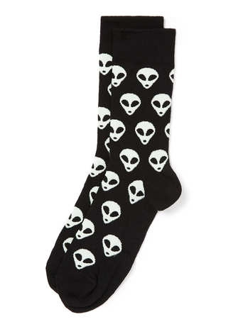 Black and green alien motif socks. 68% cotton,31% nylon,1% elastane. machine washable. $6.00