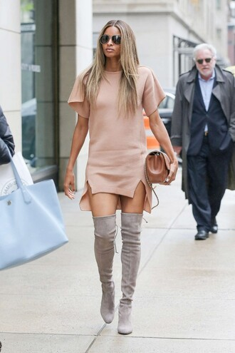 shoes boots ciara dress tunic dress miley cyrus nude nude dress suede boots purse sunglasses