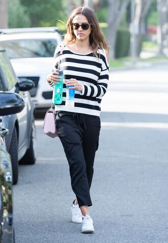 sweater stripes striped sweater jessica alba black and white sneakers pants spring outfits shoes