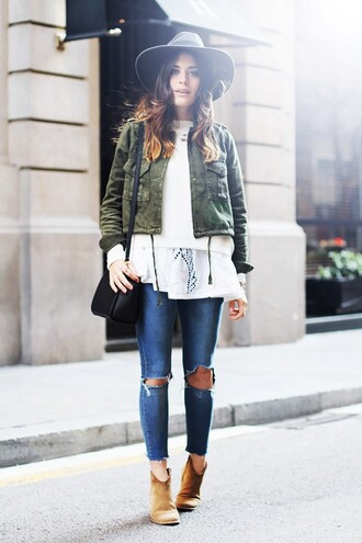 jeans denim tumblr tumblr outfit white shirt jacket green jacket brown boots asos asos jeans skinny jeans high waisted  jeans