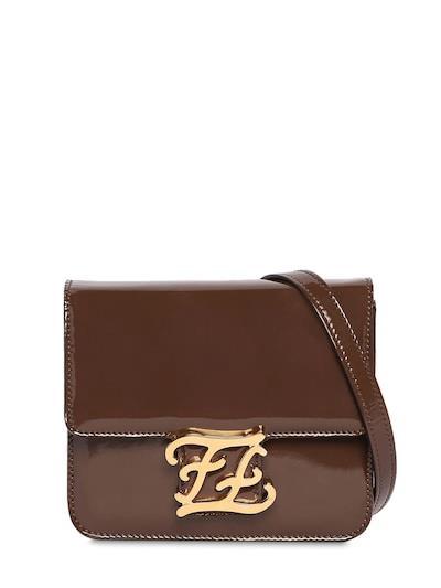 FENDI Karleigraphy Patent Leather Bag Ebony