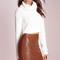 Coffee zipper decor pu bodycon skirt