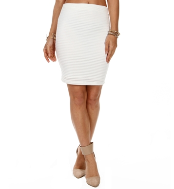 White Illusion Stripe Pencil Skirt
