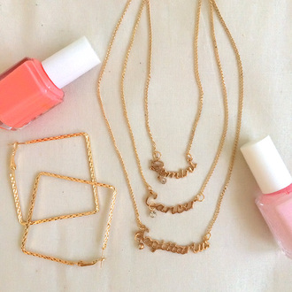 jewels necklace hoops earrings nail polish