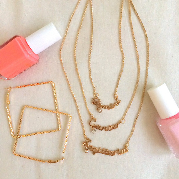 jewels earrings hoops necklace nail polish
