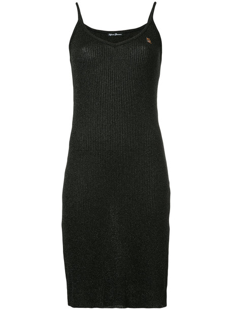 dress slip dress metallic women black