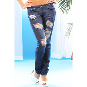 BLUE FADED ZIPPER POCKET RIPPED SKINNY DENIM JEANS @ Amiclubwear ...
