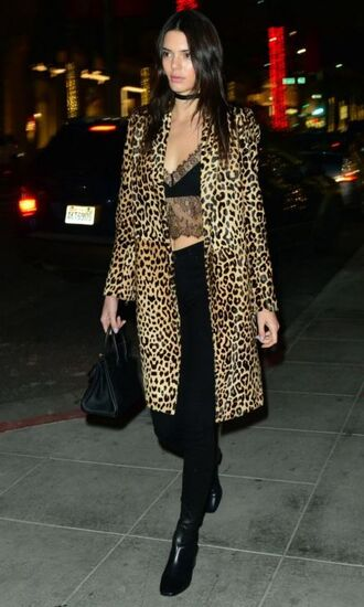 coat leopard print animal print kendall jenner boots lace lace top pants crop tops top bra bralette lace bralette jewels kendall jenner jewelry keeping up with the kardashians necklace jewelry choker necklace black choker velvet black velvet choker