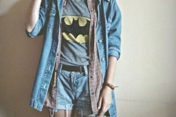 shirt batman cute jeans skirt shorts really want them cute outfits t-shirt