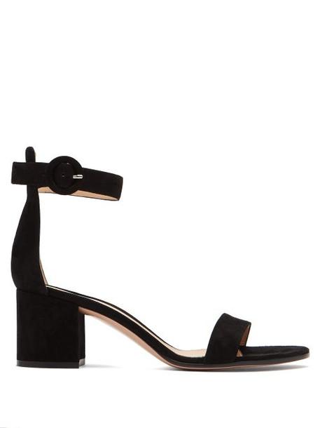 Gianvito Rossi - Portofino 60 Suede Sandals - Womens - Black