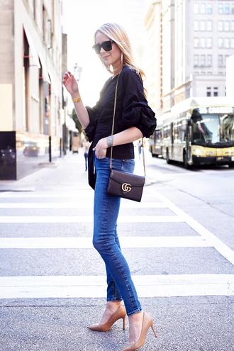 fashionjackson blogger top jeans shoes bag sunglasses jewels