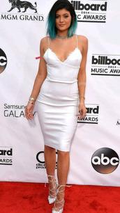 dress,kylie jenner,kardashians,white,white dress,cami dress,slip dress,shoes,parisiancollection