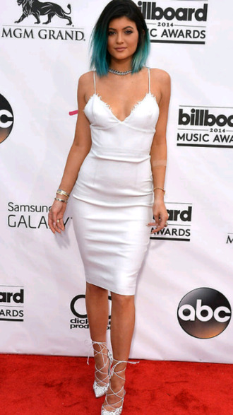 dress kylie jenner kardashians white white dress cami dress slip dress shoes parisiancollection