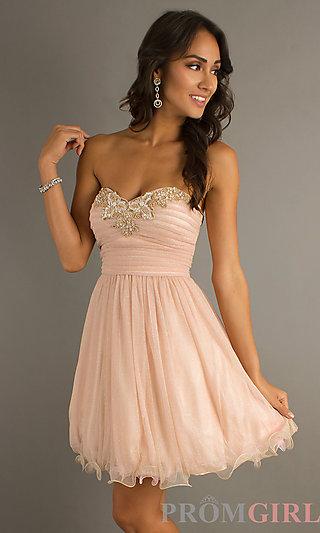 Short Strapless Prom Dresses, Beaded Neckline Dresses- PromGirl