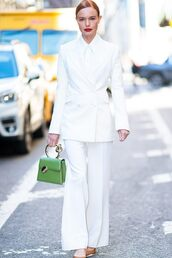 jacket,kate bosworth,celebrity,suit,white,white blazer,pants,all white everything