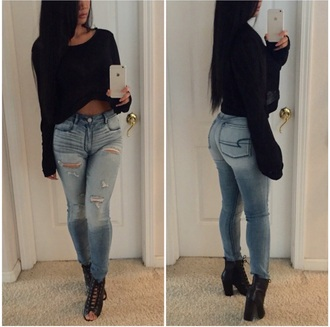 crop tops jeans high waisted shorts black boots shirt shoes