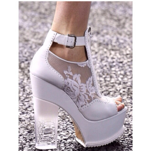 Shoes: white, heels, lace, clear heel, white heels, thick heel ...