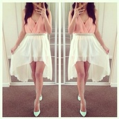 skirt,white,pink,sexy,classy,mid skirt,mini skirt,summer outfits,high heels,belt,jewels,asymmetrical skirt,shoes,tank top