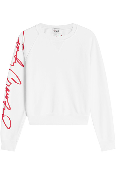 RE/DONE Cindy Crawford Cotton Sweat Top  in white
