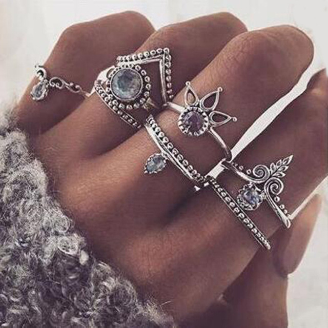 FAMSHIN Bohemian 8pcs/Set Retro Anti Silver Anti Gold Rings Lucky Stackable Midi Rings Set Rings for Women Party 2017 new-in Rings from Jewelry & Accessories on Aliexpress.com | Alibaba Group