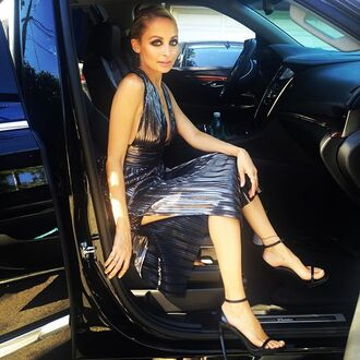 dress metallic metalic dress nicole richie sandals make-up slit dress plunge v neck gown prom dress