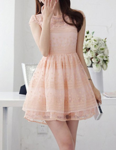 pink pale pink dress pink dress lace dress cute cute dress short party dresses