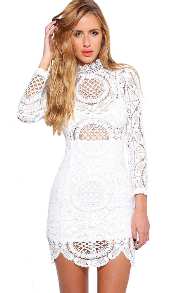 Long Sleeve Scalloped Crochet Bandage Dress White