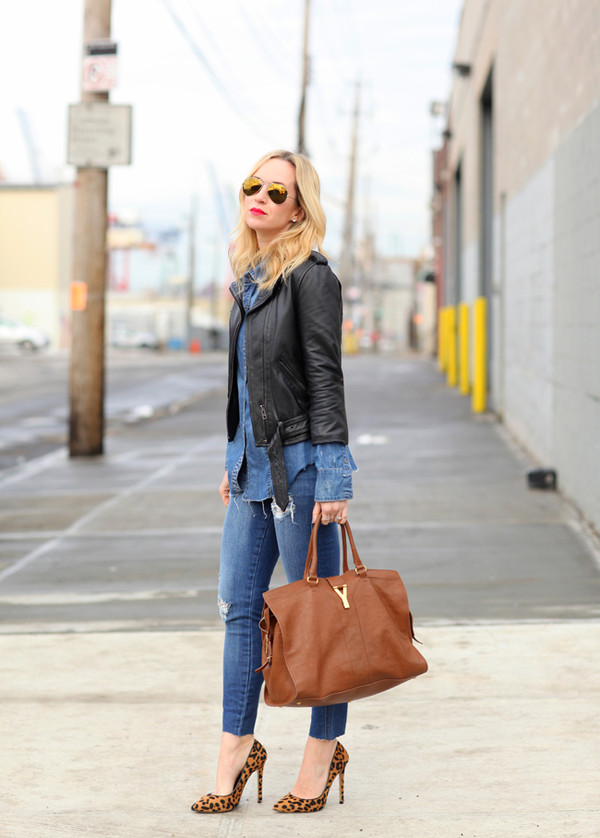 brooklyn blonde jeans shirt jacket shoes bag sunglasses