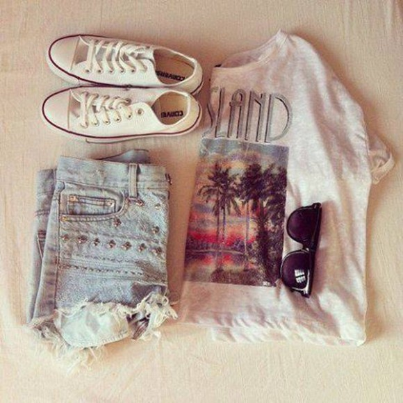 shirt summer california palm trees denim shorts converse white black sunglasses white shirt shoes sunglasses shorts t-shirt island crop tops high waisted short