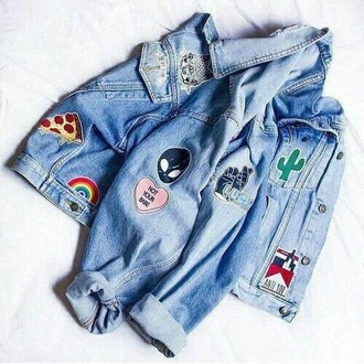 jacket patched denim patch alien cats pizza cactus rainbow bae smoke