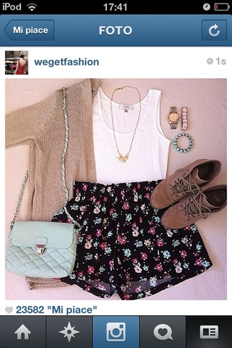 shorts beautiful flowered shorts cut off shorts high waisted shorts flowers floral cardigan tank top summer t-shirt shoes jewels watch necklace crop tops blouse bag sweater purse jacket cute and cozy jewelry