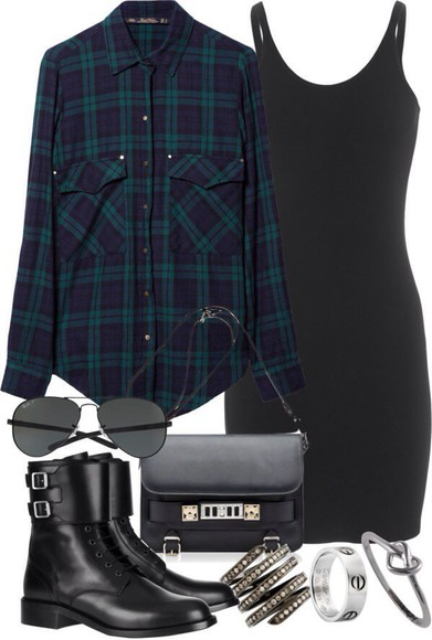 flannel tartan green check button down back to school forest green fall outfits flannel shirt hipster aviator sunglasses