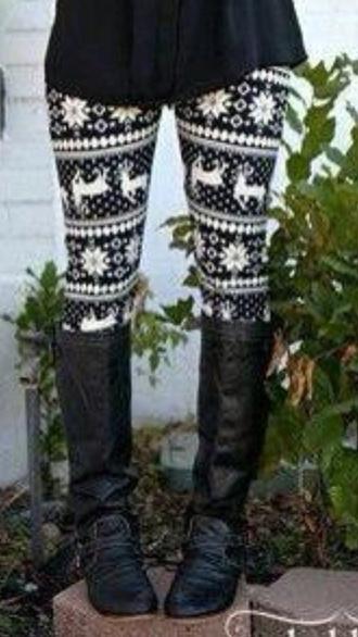 pants leggings black and white christmas cute