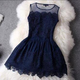 dress blue dress black dress lace clothes party navy navy blue lace sheer dress blue dress casual cute blue looove short dress flowers