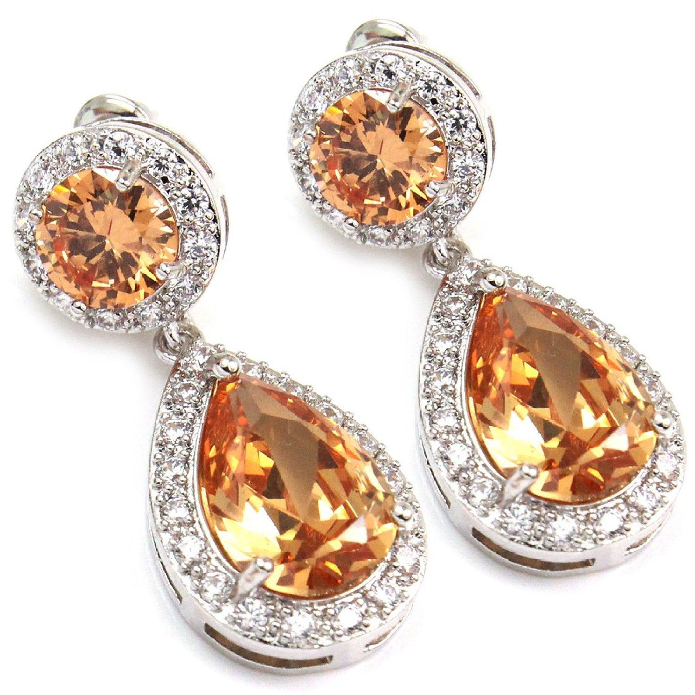 Amazon.com: white gold gp cz citrine color cz swarovski crystal women girl dangle tear drop earring: jewelry