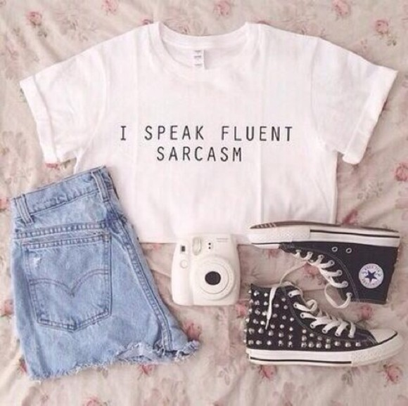 studded shoes shirt sarcasm