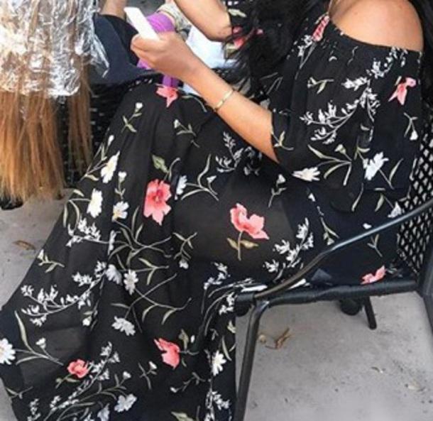 dress black dress floral