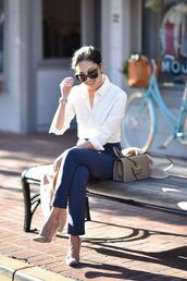 pants,tumblr,blue pants,office outfits,work outfits,bag,nude bag,shirt,white shirt,pumps,pointed toe pumps,high heel pumps,sunglasses,black sunglasses,cat eye